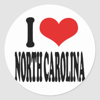 I Love North Carolina Round Stickers