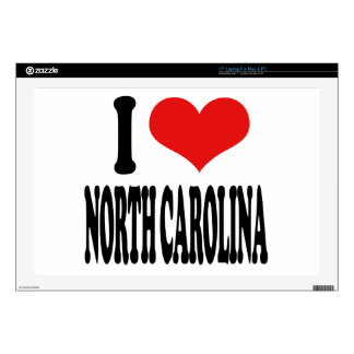 "I Love North Carolina Skins For 17"" Laptops"