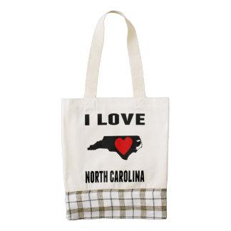 I Love North Carolina Zazzle HEART Tote Bag