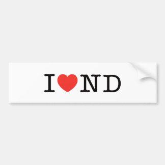 I LOVE North Dakota Bumper Sticker