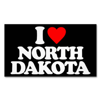 I LOVE NORTH DAKOTA BUSINESS CARD MAGNET