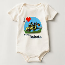 I Love North Dakota Country Taxi Baby Bodysuit
