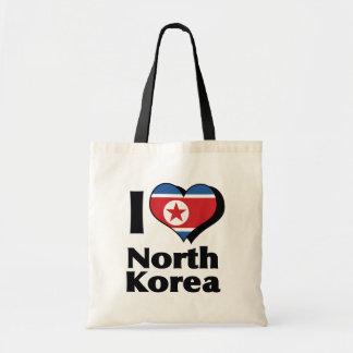 I Love North Korea Flag Tote Bag