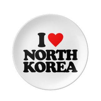 I LOVE NORTH KOREA PORCELAIN PLATES