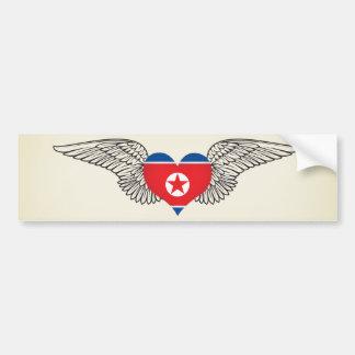 I Love North Korea -wings Bumper Sticker
