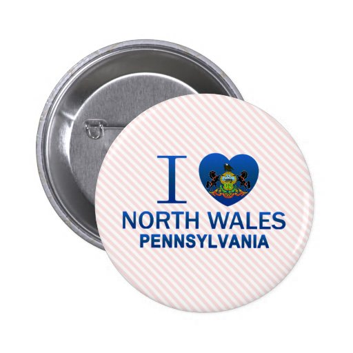 I Love North Wales, PA Pinback Buttons