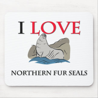 I Love Northern Fur Seals Mouse Pads