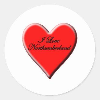 I Love Northumberland Classic Round Sticker