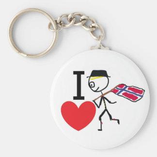 I Love Norway 2 Basic Round Button Keychain