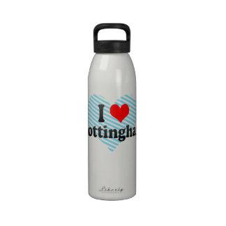I Love Nottingham, United Kingdom Water Bottles