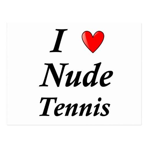 I Love Nude Tennis Postcard