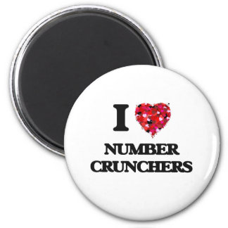 I Love Number Crunchers 2 Inch Round Magnet
