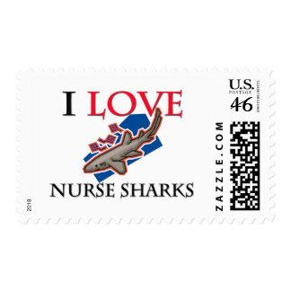 I Love Nurse Sharks Postage Stamps