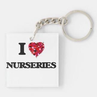 I Love Nurseries Double-Sided Square Acrylic Keychain