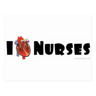 I love nurses postcard
