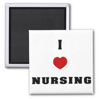 I Love Nursing 2 Inch Square Magnet