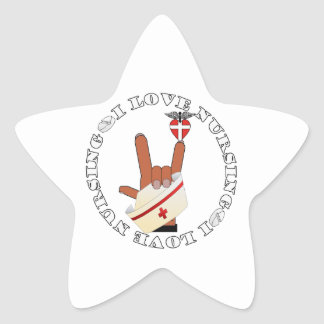 I LOVE NURSING ASL LOVE SIGN STAR STICKER
