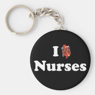 I love nursing basic round button keychain