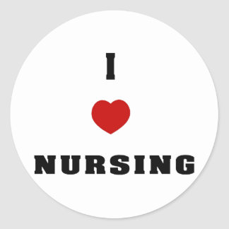 I Love Nursing Classic Round Sticker