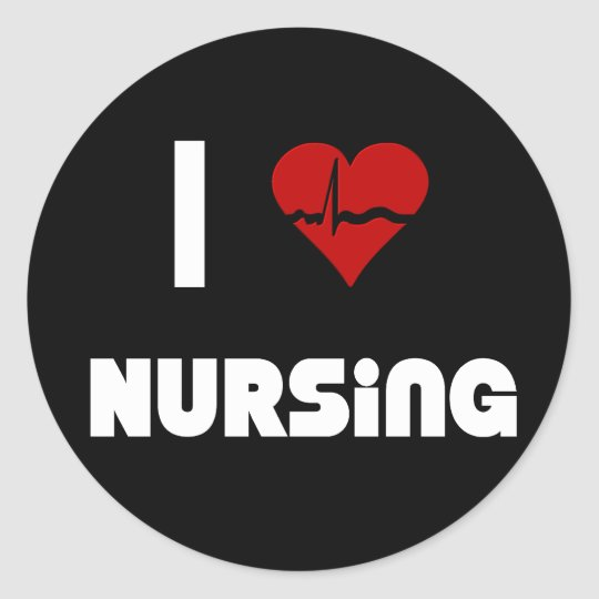 I Love Nursing Classic Round Sticker
