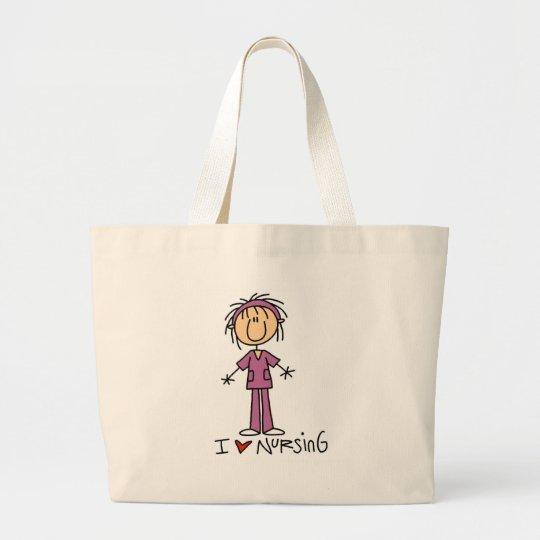I Love Nursing Large Tote Bag