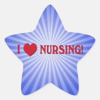 I LOVE NURSING!  NURSE VALENTINE HEART STAR STICKER