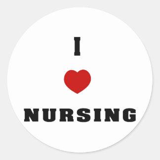 I Love Nursing Round Stickers