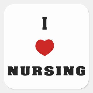 I Love Nursing Square Sticker