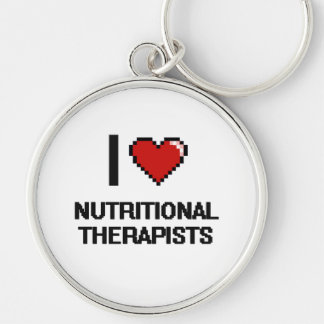 I love Nutritional Therapists Silver-Colored Round Keychain
