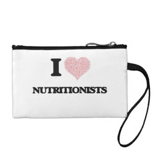 I love Nutritionists (Heart made from words) Change Purse