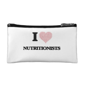 I love Nutritionists (Heart made from words) Makeup Bags