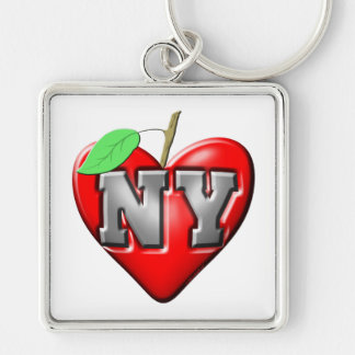 I Love NY Silver-Colored Square Keychain