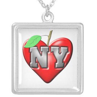 I Love NY Square Pendant Necklace