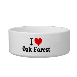I Love Oak Forest, United States Cat Water Bowls