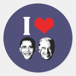I Love Obama / Biden Round Sticker