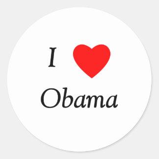 I Love Obama Classic Round Sticker