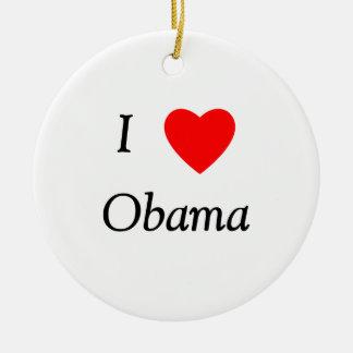 I Love Obama Double-Sided Ceramic Round Christmas Ornament