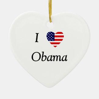 I Love Obama (flag heart) Ceramic Ornament