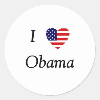 I Love Obama (flag heart) Classic Round Sticker