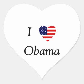 I Love Obama (flag heart) Heart Sticker