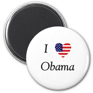 I Love Obama (flag heart) Refrigerator Magnets