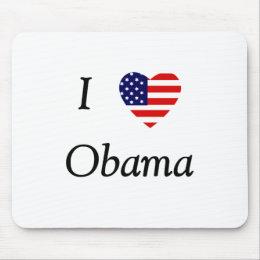 I Love Obama (flag heart) Mouse Pad
