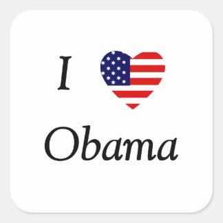 I Love Obama (flag heart) Square Sticker