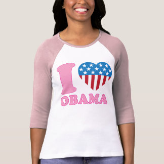 I Love OBAMA Patriotic i Heart Stars Stripes Shirt