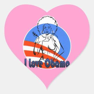 I Love Obama Pink Hart Heart Sticker
