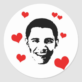 I Love Obama Round Sticker
