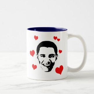 I Love Obama Two-Tone Coffee Mug