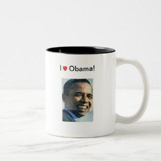 I Love Obama! Two-Tone Coffee Mug