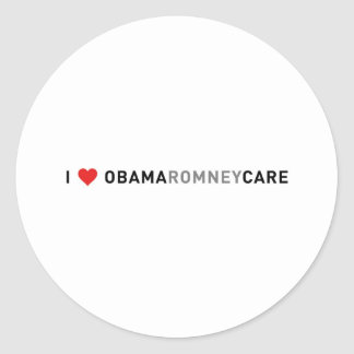 I Love ObamaRomneyCare Classic Round Sticker
