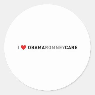 I Love ObamaRomneyCare Round Stickers